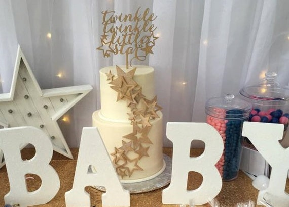Baby Shower Cake Topper, Twinkle Twinkle Little Star Cake Topper, Gender Reveal Cake Topper, Star Cake Topper, How We Wonder What You Are