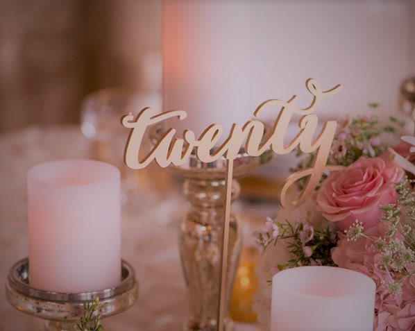 Rose gold table numbers wedding numbersdiy