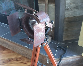 Rustic Film Theatre Spot Light on Wood Tripod
