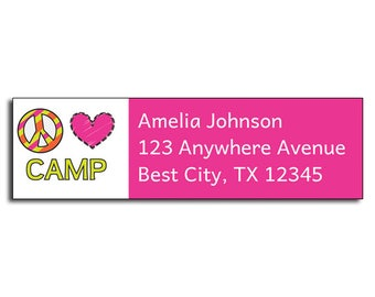 Girls Personalized Address Label, Custom Printed Address Label, Peace Love Camp Address Label, Summer Camp Return Mailing Label