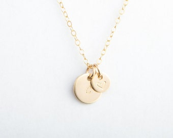 """Initial + Heart Necklace, 3/8"""" and 1/4"""" Round Disc, Gold Filled, Sterling Silver, Rose Gold Filled"""