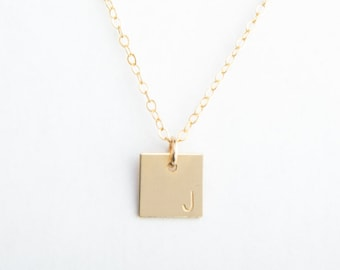 Small Square Initial Necklace, Gold Filled, Sterling Silver, Rose Gold Filled
