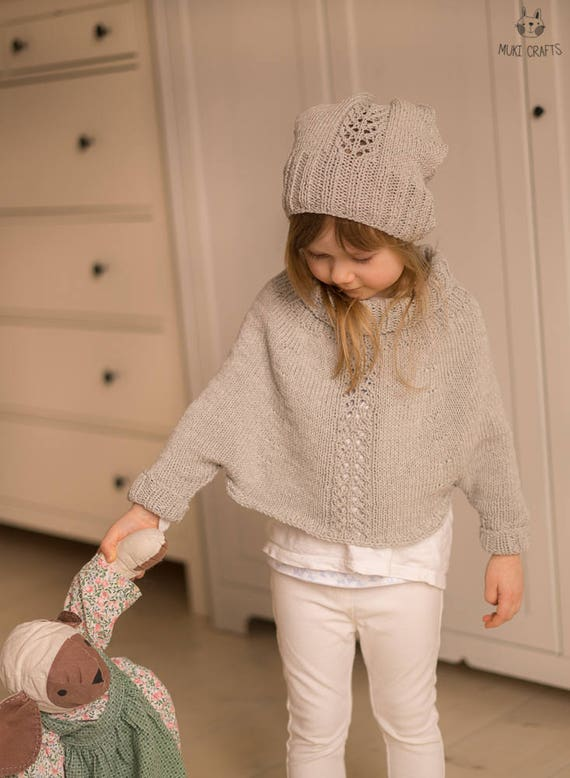 Sale! KNITTING PATTERN sleeved poncho and hat set Mandy with lace (toddler, child sizes)