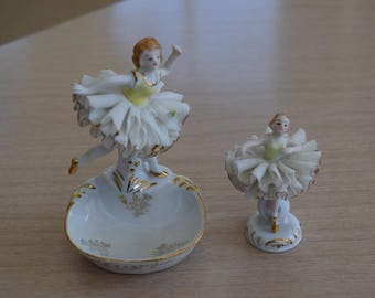 2 Ucagco of Japan Hand Painted Ballerina Ballet Figurines Spaghetti Glass