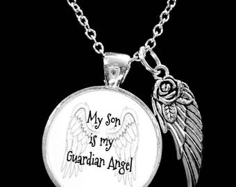 Son Angel Necklace, My Son Is My Guardian Angel Wing Memory Sympathy Gift Remembrance Memorial Necklace