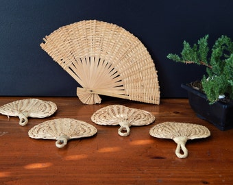 set of 5 small vintage woven fans decorative woven fans woven rattan fans - Decorative Fans