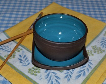 Rice bowl with matching plate, snack bowl, sushi plate, cereal bowls, dessert dishes, plate set, blue pottery