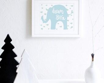 Dream Big Elephant Art Print, Blue and Mint Modern Nursery Wall Art, Elephants Nursery Decor, Baby Boys Room, Little Boys Room