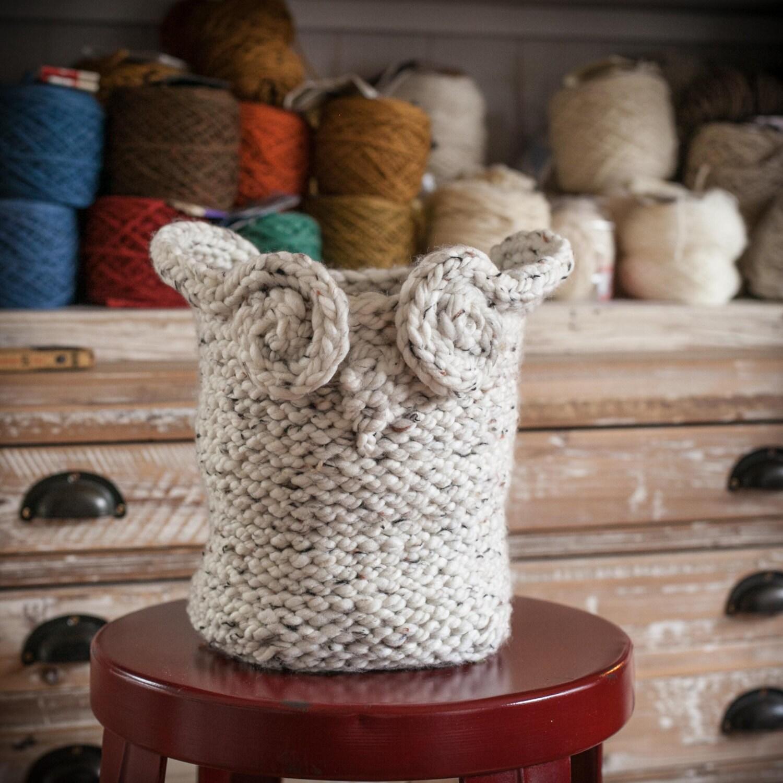 Knitting Basket With Handles : Loom knit owl basket pattern yarn catch all