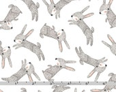 Brown Bunny Rabbit Fabric, 3 Wishes Forest Friends 11664 White, Bunny Quilt Fabric, Easter Fabric, Baby Quilt Fabric, Cotton