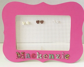 Earring Holder. Jewelry Organizer. Personalized picture frame earring holder.