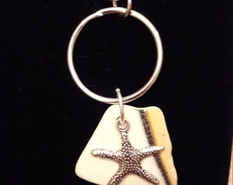 Genuine Sea Pottery Keyring with Starfish Charm