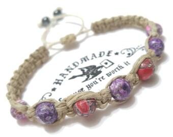 Painted Beads Hemp Bracelet Handmade, Woven Bracelet, Hemp Jewelry, Adjustable Hemp Bracelet, Hemp Jewellery, Jewelry, Fashion Jewelry, Hemp
