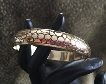Brass Embossed Bangle Bracelet, Embossed with Circles, Solid Brass Bangle