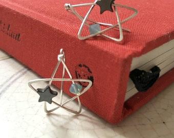 Star Earrings | Star Ear Climbers | Sterling Silver Star Earrings | Wire Wrap Earrings | Handmade Earrings | Celestial Earrings | Blue