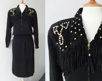 Black Knitted Vintage Dress With Rivets-Fringes-Spanish Suede Trim // Darian // Size M