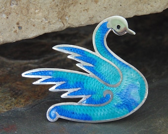 Jeronimo Fuentes ~ Vintage Sterling Silver and Enamel Swan Pin / Brooch