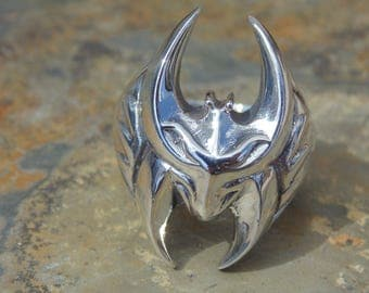 Vintage Sterling Silver Bat Ring - Size 9.25  / 15 Grams