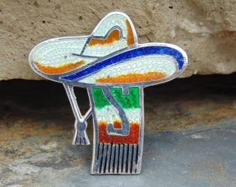 Jeronimo Fuentes ~ Vintage Mexican Sterling and Enamel Sombrero with Scarf Pin / Brooch