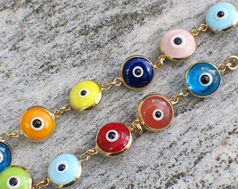 14K Gold Multicolor Evil Eye Charm Bracelet