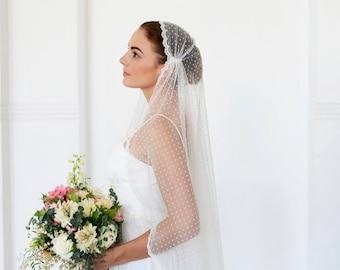 Polka dot Juliet Cap Veil with lace, lace cap veil, polkadot tulle veil, dotted tulle veil, unique veil, Juliet wedding veil LIMITED EDITION