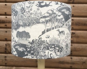 Woodland and Countryside in Greys Fabric covered lampshade.