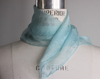 Vintage 1960s Silk Chiffon Scarf / 60s Baby Blue Scarf /  Sheer Wrap / Headwrap / Neckerchief / Kerchief