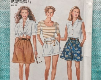 1980s / 1990s New Look 6009 Sewing Pattern Ladies Misses Shorts Pleated Summer Pockets High Waisted Size 6-8-10-12-14-16