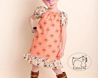 Girls Peasant Dress, Girls Slim Fit Peasant Dress, The Woodland Fox Peasant Dress, Girls Fox Dress, Boutique Clothing