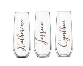 Personalized Champagne Flutes, Bridesmaid Champagne Flute, Wedding Party Toasting Flutes, Stemless Champagne Flutes