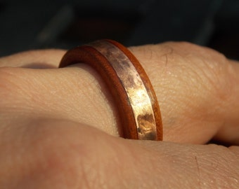 Men Tigerwood and Copper wood ring size 11 1/2
