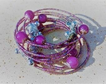 Rainbow Bracelet, Purple Bracelet, Stackable Bracelet, Beaded Bracelet, Hippie Bracelet, Gypsy Bracelet, Adjustable Memory Wire Bracelet