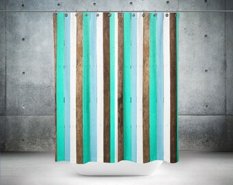 teal shower curtain farmhouse beach chic faux wood optional bath mat set