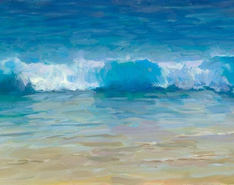 Beach Waves. Coastal Painting. Ocean Painting. Seascape Painting. Ocean Art. Beach Wave Painting. Seascape Art. Coastal Art. Enyi Lu