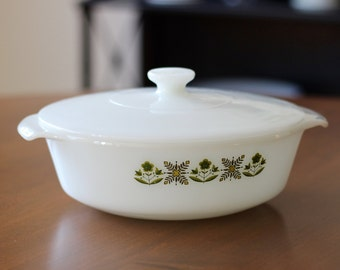 Vintage Fire King Milk Glass Casserole with Lid Meadow Green