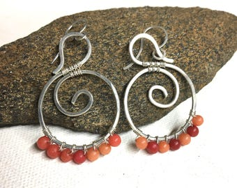 Silver Wire Boho Earrings