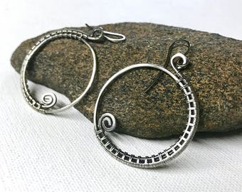 Oxidized Silver Wire Wrapped Earrings