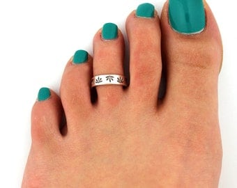 sterling silver 925 toe ring Weed Leaf design toe ring adjustable toe midi ring also knuckle ring (T12)