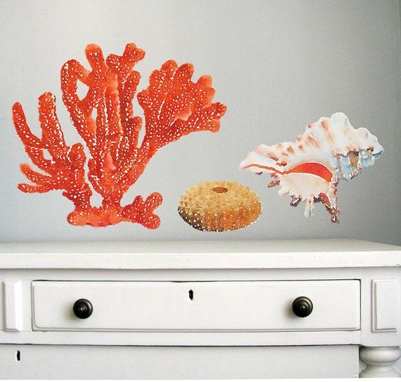 Autocollant Corail Sticker Ocean Sticker Decor De Mer Tissu