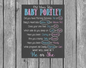 Old Wives Tales Personalized Printable Chalkboard // Gender Reveal Baby Shower // Baby Shower Games