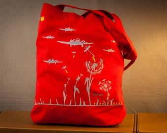 Cool printed Dandelion tote shopping bag military graphic with dandelions and aircrafts - red or in multiple colors