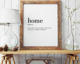 Home Definition Print | Housewarming Gift | Wall Art Print | Minimal Print | Home | Modern Print | Type Poster | INSTANT DOWNLOAD #DP26