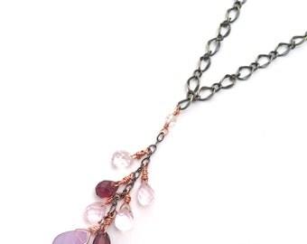 multi briolette drop necklace, briolette drop necklace, purple briolette charm necklace, briolette cascade necklace, purple crystal necklace