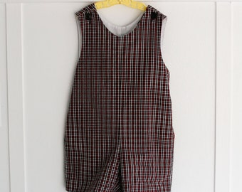 4:  Plaid JonJon Romper, Red and Black Plaid with Back Belt, Classic Shortall Romper, Christmas Holiday