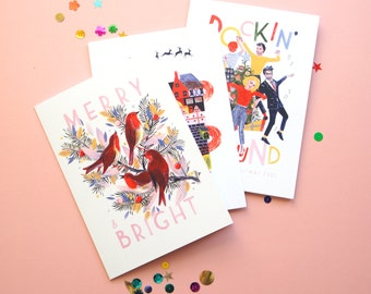 Christmas card 5 pk bundle, pick and mix, Merry and Bright, Santa Claus is coming to town, Rocking around the christmas tree
