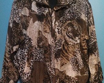 Silk Leopard Jacket / Lion Print / Leopard Lion Face  / Club Wear / Rave Wear / Wind Breaker / Bomber Jacket / CarnivalofFASHION