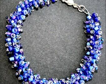 Blue Urchin, bracelet, blue theme, handmade beadwoven bracelet, handmade in the UK, textured bracelet, woven bracelet, sea urchin, OOAK