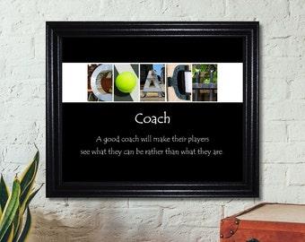 Tennis Coach Gift, Tennis Coach Print, Coach Print, Coach Sign, Alphabet Letter Art, Coach Gift, Inspirational Gift, Tennis