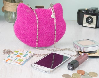 Harris Tweed clamshell Minaudiere clutch purse, hot pink Harris Tweed kitty shaped purse, with cotton lining | Box, hard case purse