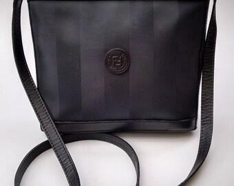 Sale! FENDI Vintage Black Pequine Shoulder/ Crossbody Bag. Italian Designer purse.
